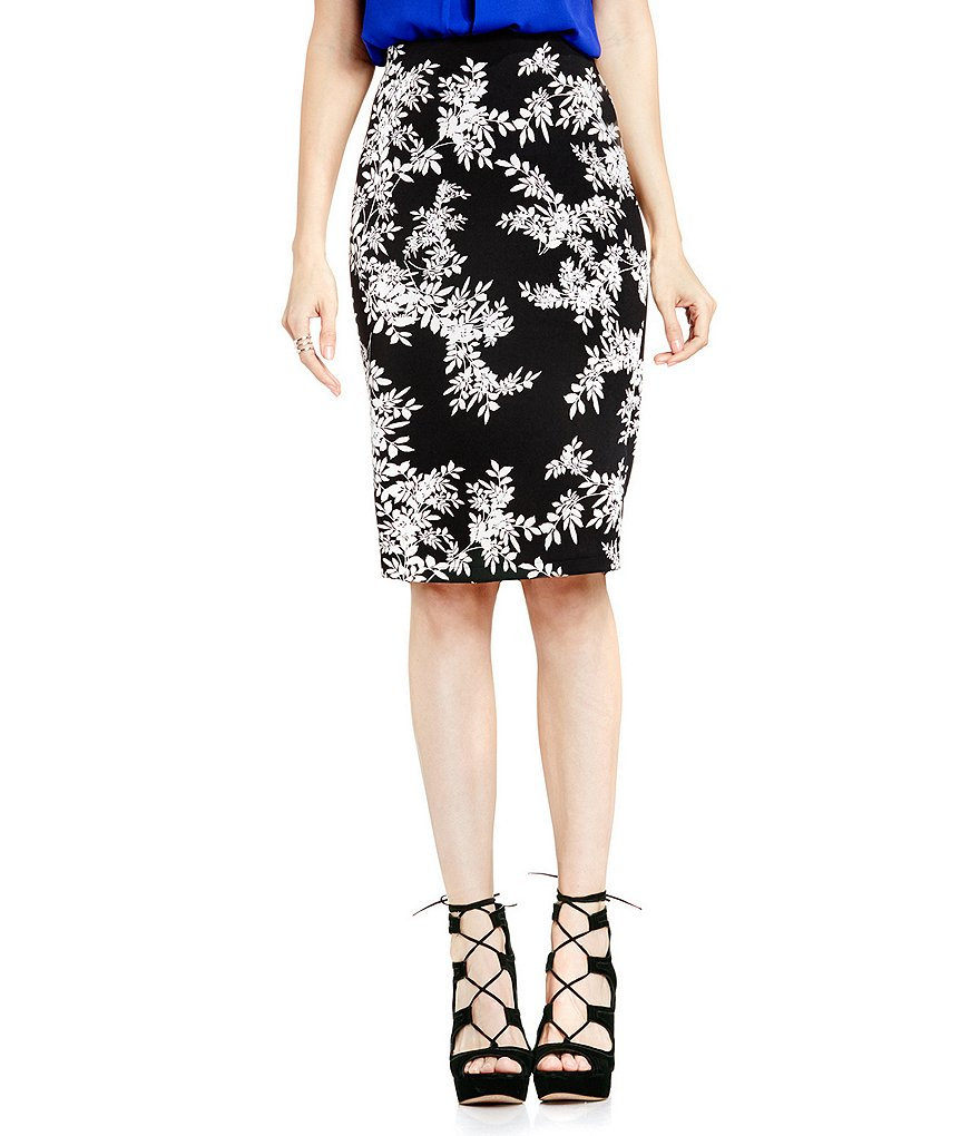 Vince Camuto Delicate Foliage Scuba Pencil Skirt