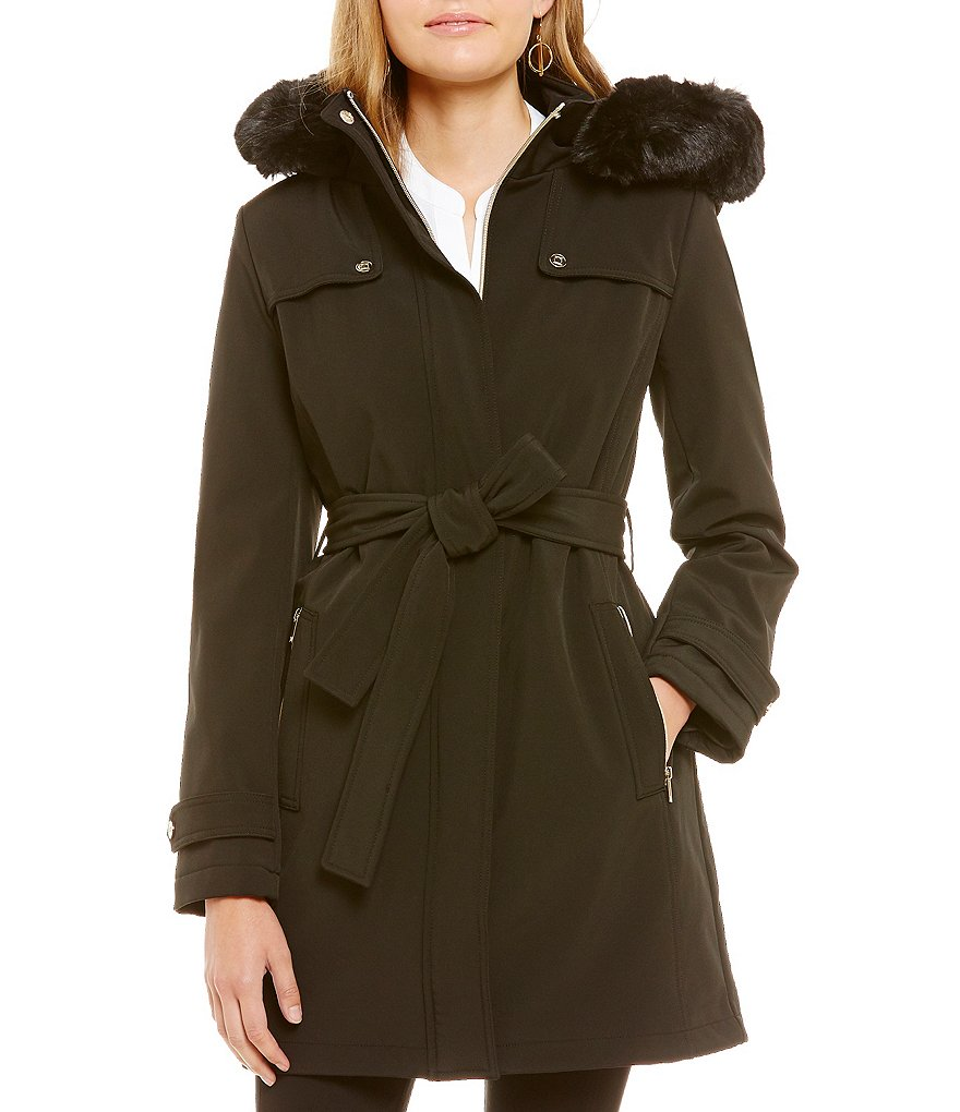 Ivanka Trump Soft Shell Belted Walker Coat With Detachable Faux-Fur Hood