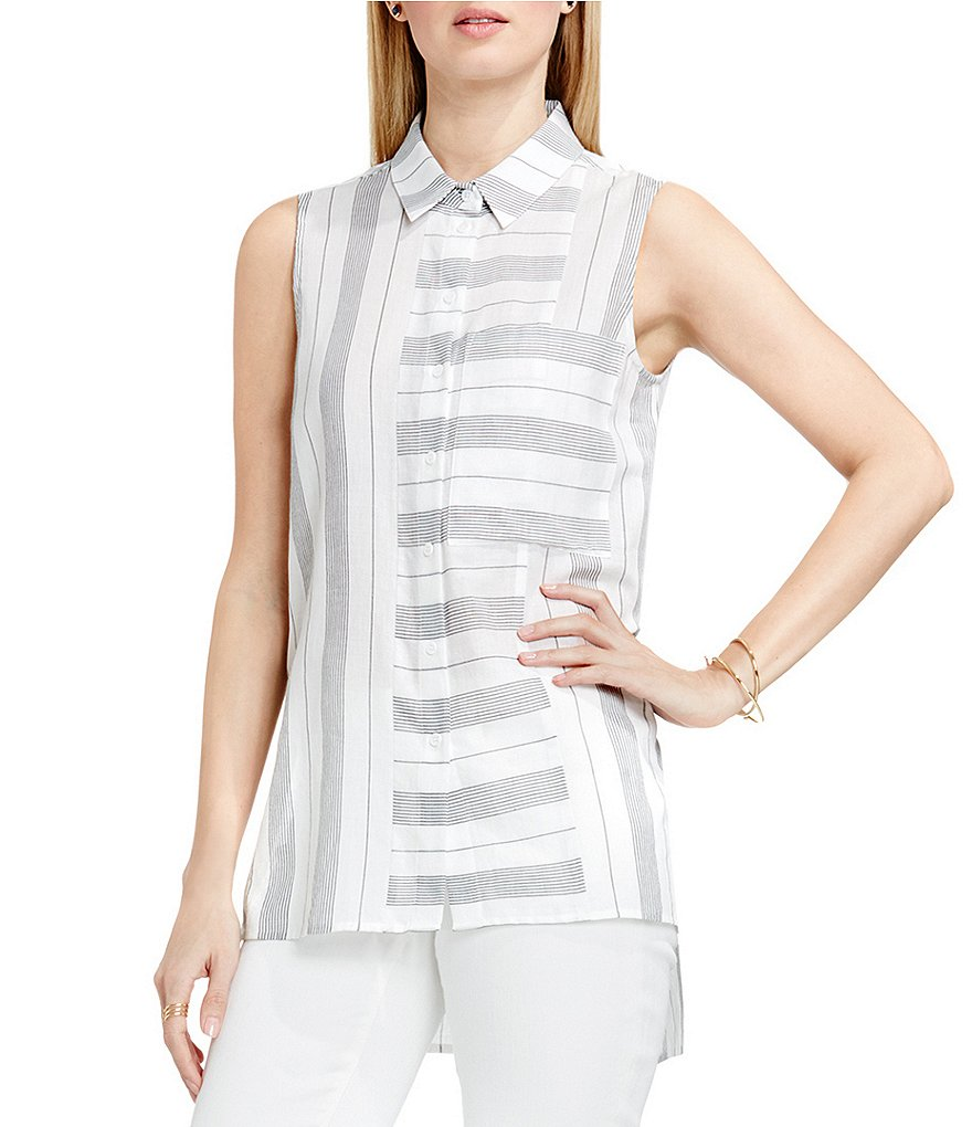 Two By Vince Camuto Sleeveless Stripe Utility Shirt