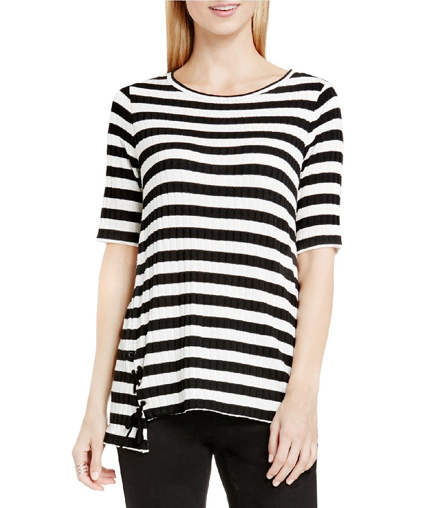 Two By Vince Camuto Wide Rib Stripe Side Laced Top