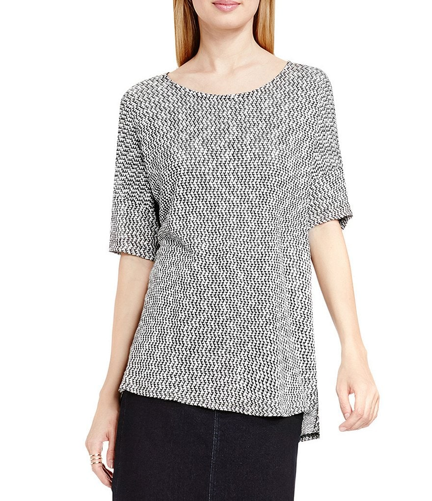 Two By Vince Camuto Salt & Pepper Lurex Knit Top