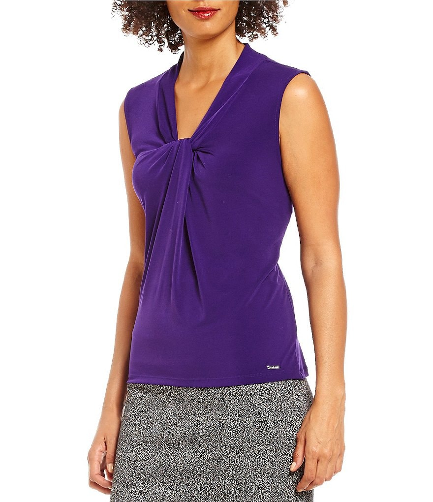 Calvin Klein Knotted V-Neck Matte Jersey Shell