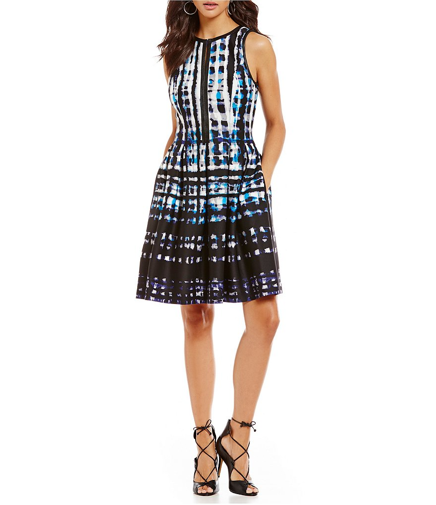 Vince Camuto Keyhole Plaid Flare Dress