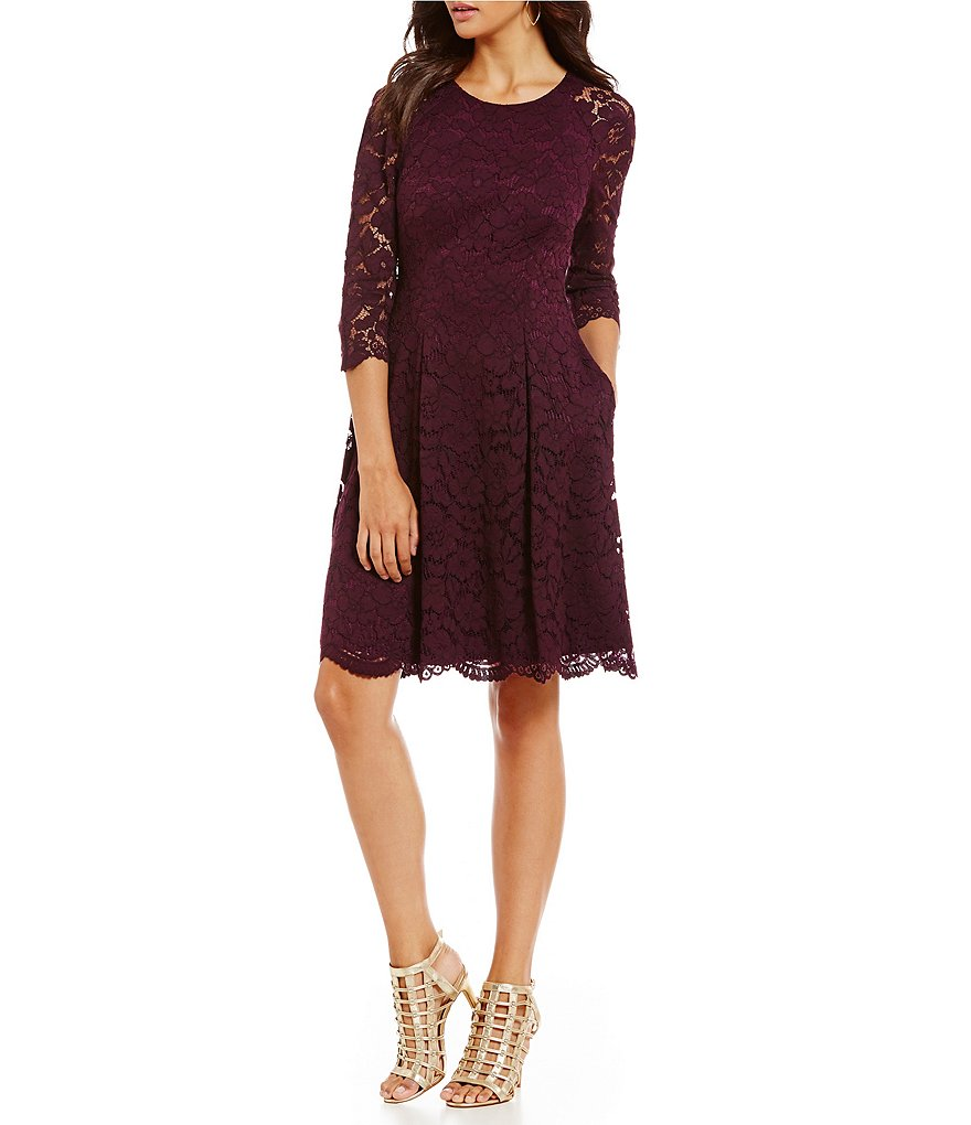 Vince Camuto 3/4 Sleeve Lace Swing Dress