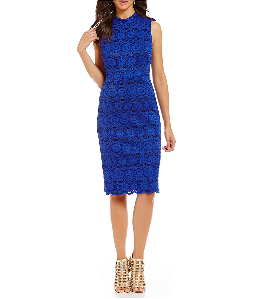 Vince Camuto Lace Mock Neck Midi Dress