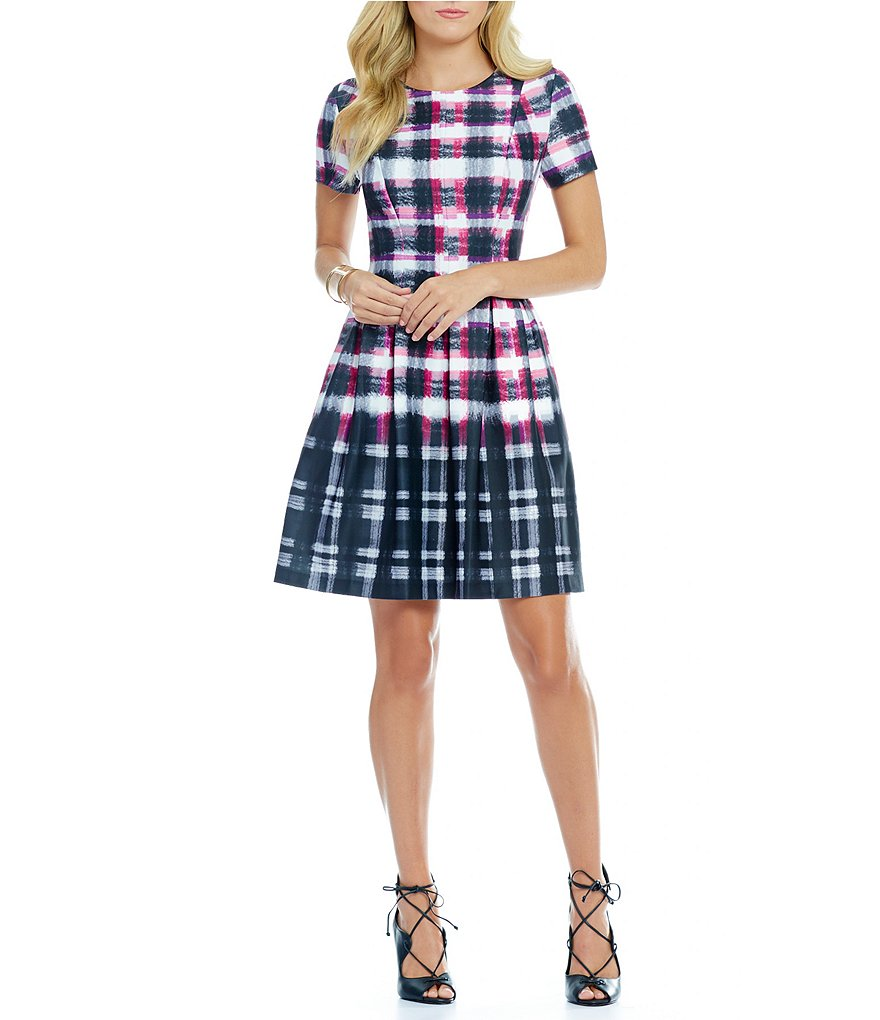 Vince Camuto Plaid Mock Neck Dress