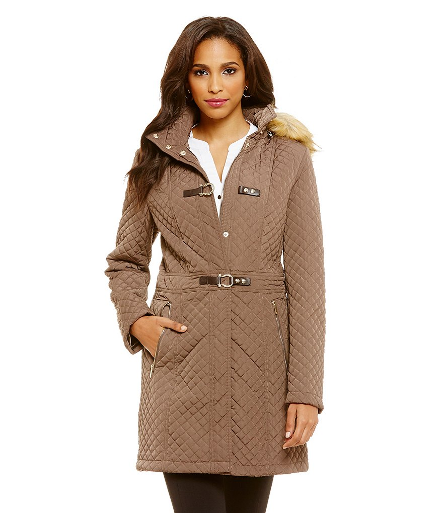 Ivanka Trump Quilted Faux-Fur Hooded Walker Coat