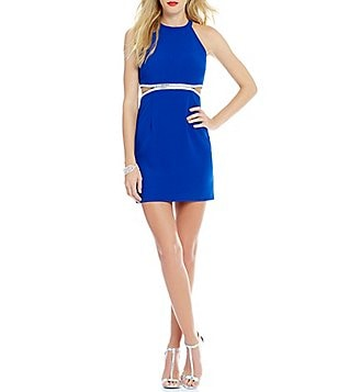 Dear Moon Embellished Cut Out Waist Sheath Dress
