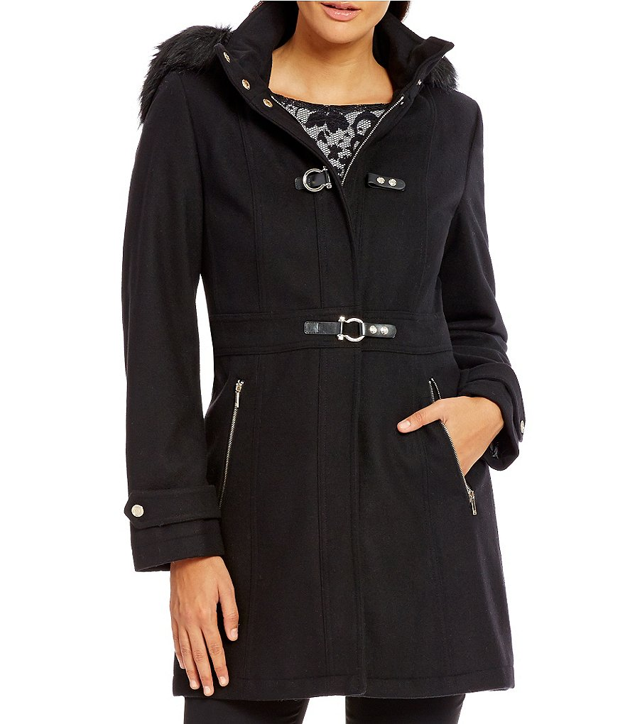 Ivanka Trump Wool Walker With Detachable Faux Fur Hood