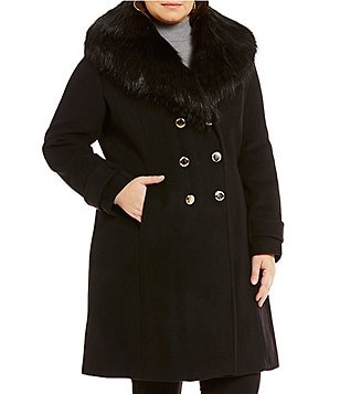 Ivanka Trump Plus Wool Double Breasted Fit-and-Flare Coat With Faux-Fur Collar