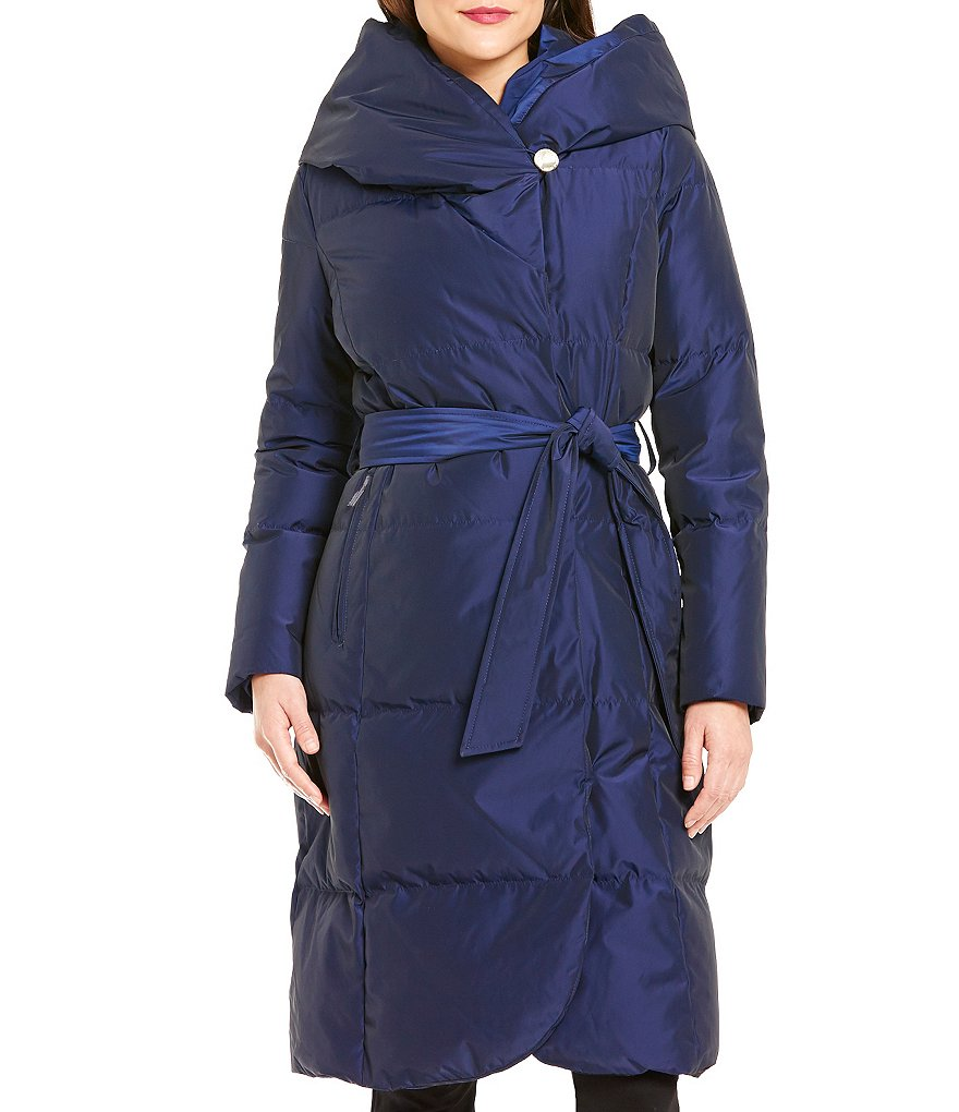 Ivanka Trump Hooded Pillow Collar Belted Walker Puffer Coat