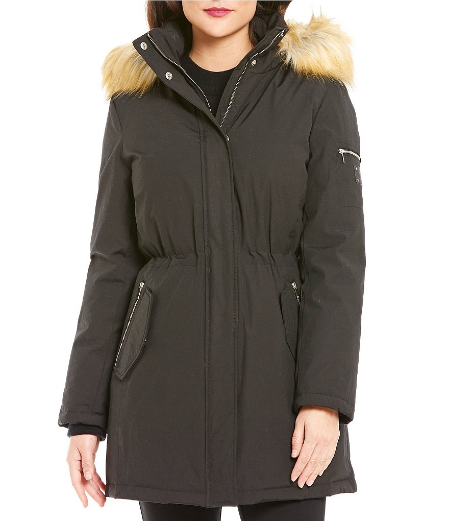 Ivanka Trump Mock Neck Faux-Fur Hooded Zip Front Solid Parka