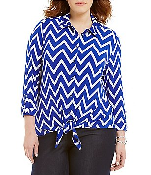 Peter Nygard Plus Point Collar Long Sleeve Tie-Front Printed Blouse