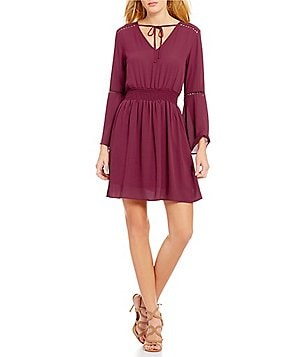Collective Concepts Smocked Waist Bell Sleeve Tie-Neck Dress