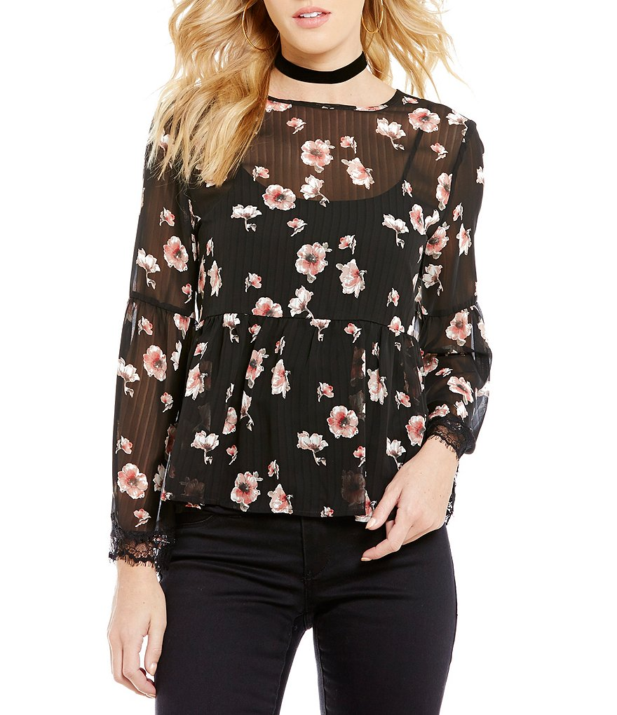 Collective Concepts Printed Floral Bell Sleeve Lace Top