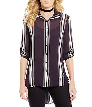 Collective Concepts Striped Hi-Low Button-Front Top