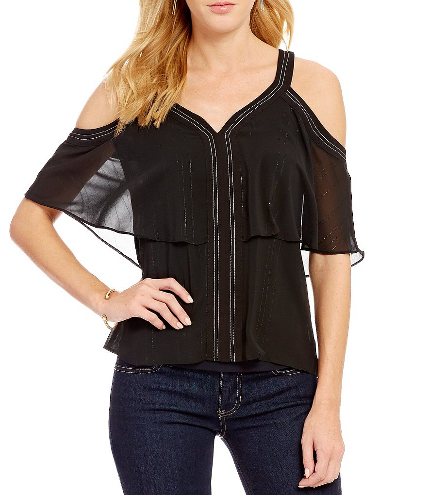 Guess Cherelle Cold Shoulder Lurex-Stripe Top