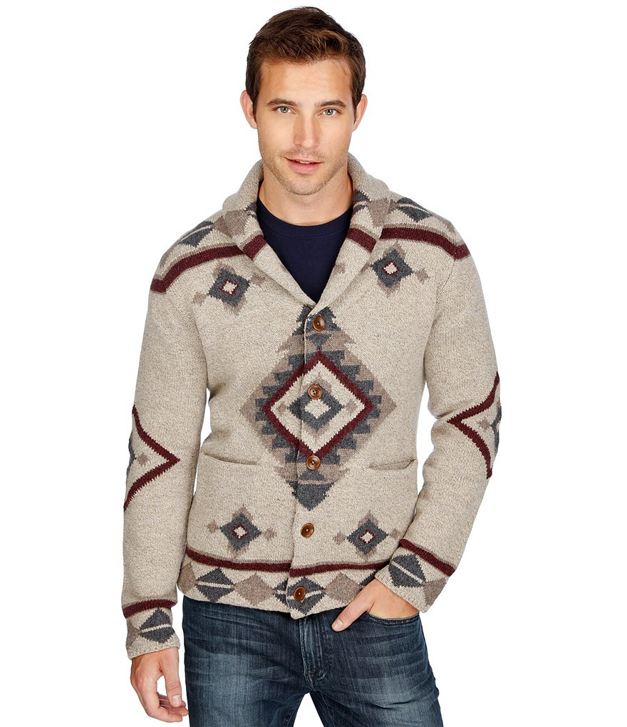 Lucky Brand Patterned Shawl Wool-Blend Cardigan Sweater