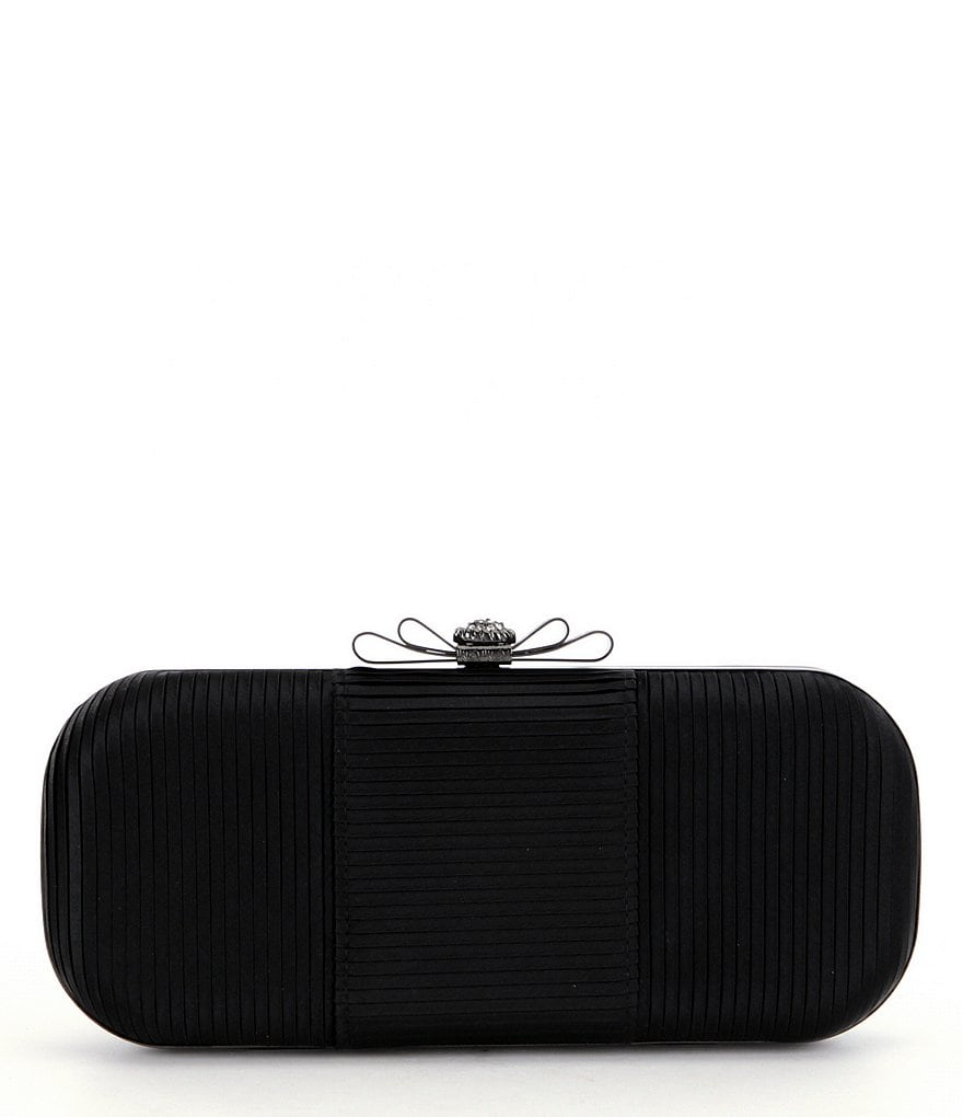 Kate Landry Pleated Satin Bow Frame Clutch
