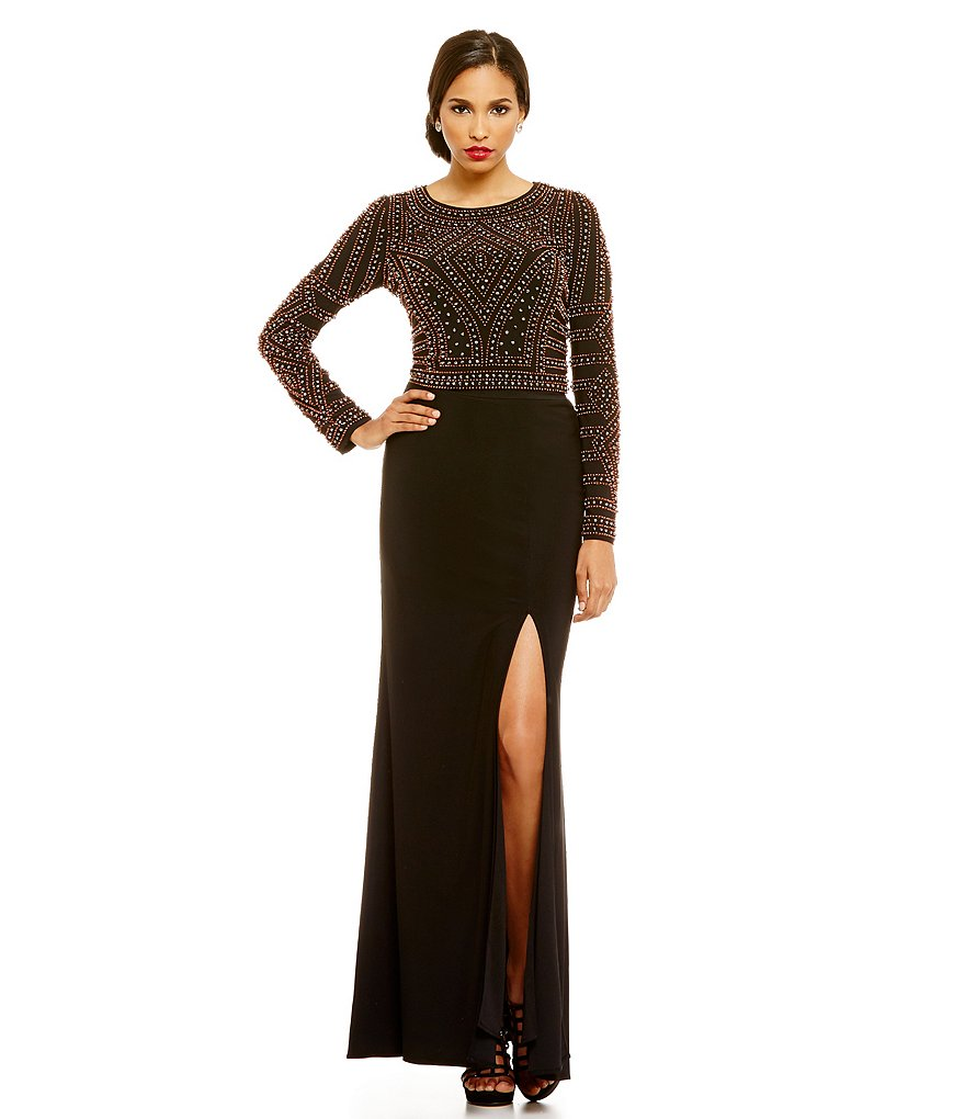 Xscape Caviar Beaded Top Jersey Bottom Two-Piece Gown