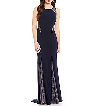 Xscape Lace Inset Sleeveless Gown