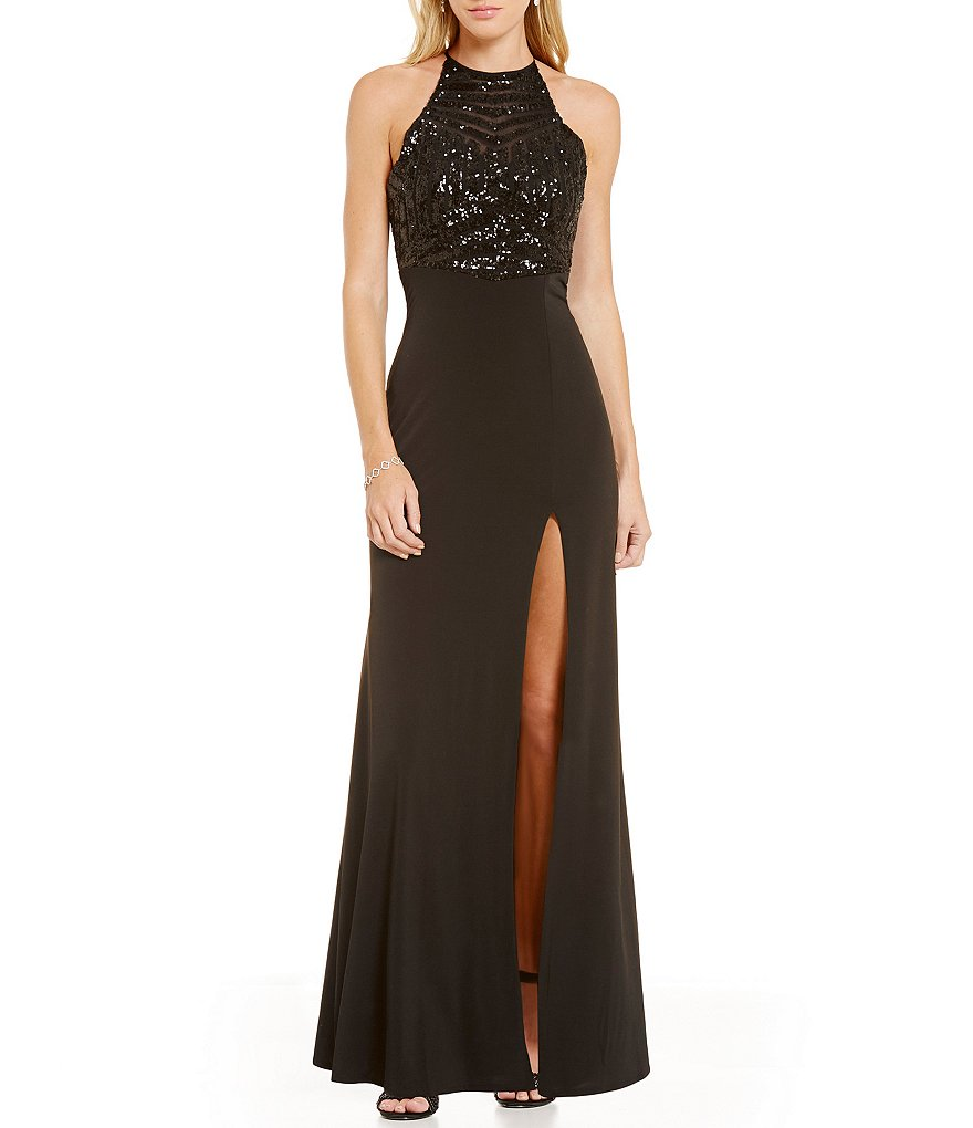 Masquerade Sequin Pattern Bodice High Neck Long Dress