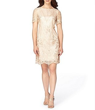Tahari ASL Petite Sequin Lace Sheath Dress