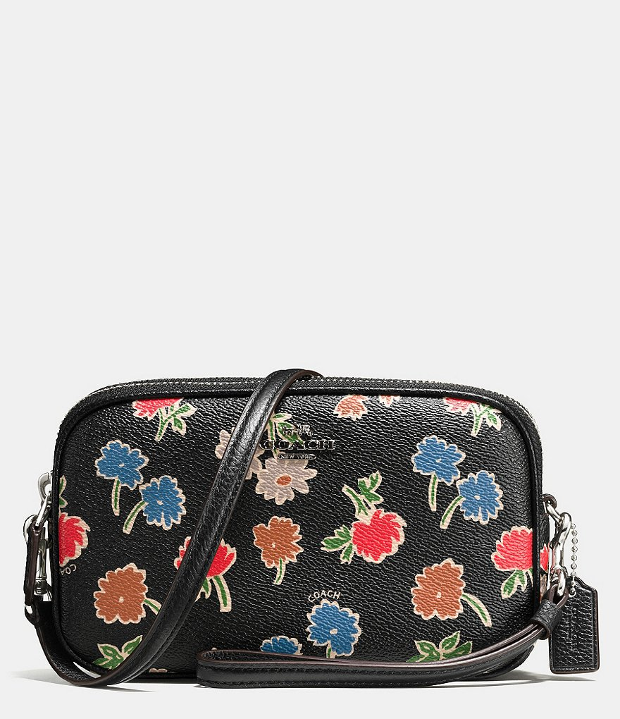 COACH CROSSBODY CLUTCH IN DAISY FIELD PRINT PEBBLE LEATHER