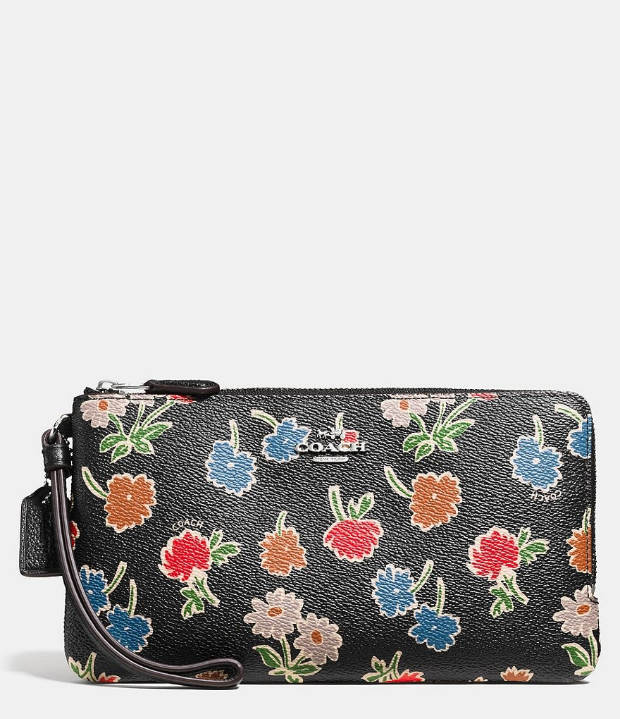 COACH DOUBLE ZIP WALLET IN DAISY FIELD PRINT COATED CANVAS