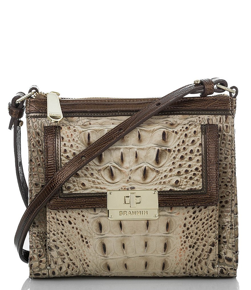 Brahmin Bronte Collection Mimosa Crocodile-Embossed Cross-Body Bag