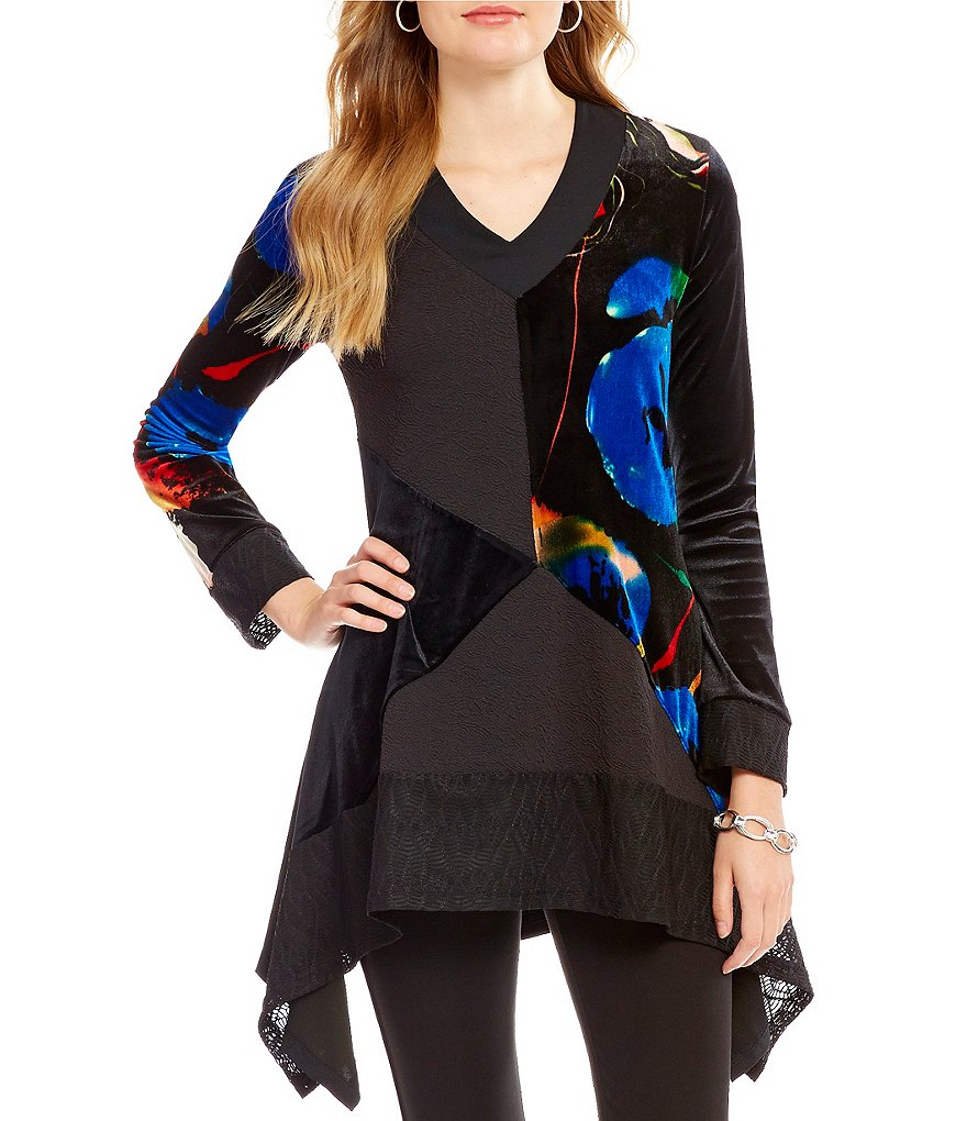 Calessa Mixed Print V-Neck Long Sleeve Sharkbite Hem Tunic