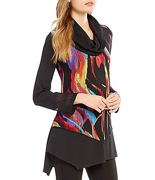 Calessa Abstract Print Cowl Neck Long Sleeve Asymmetrical Hem Tunic