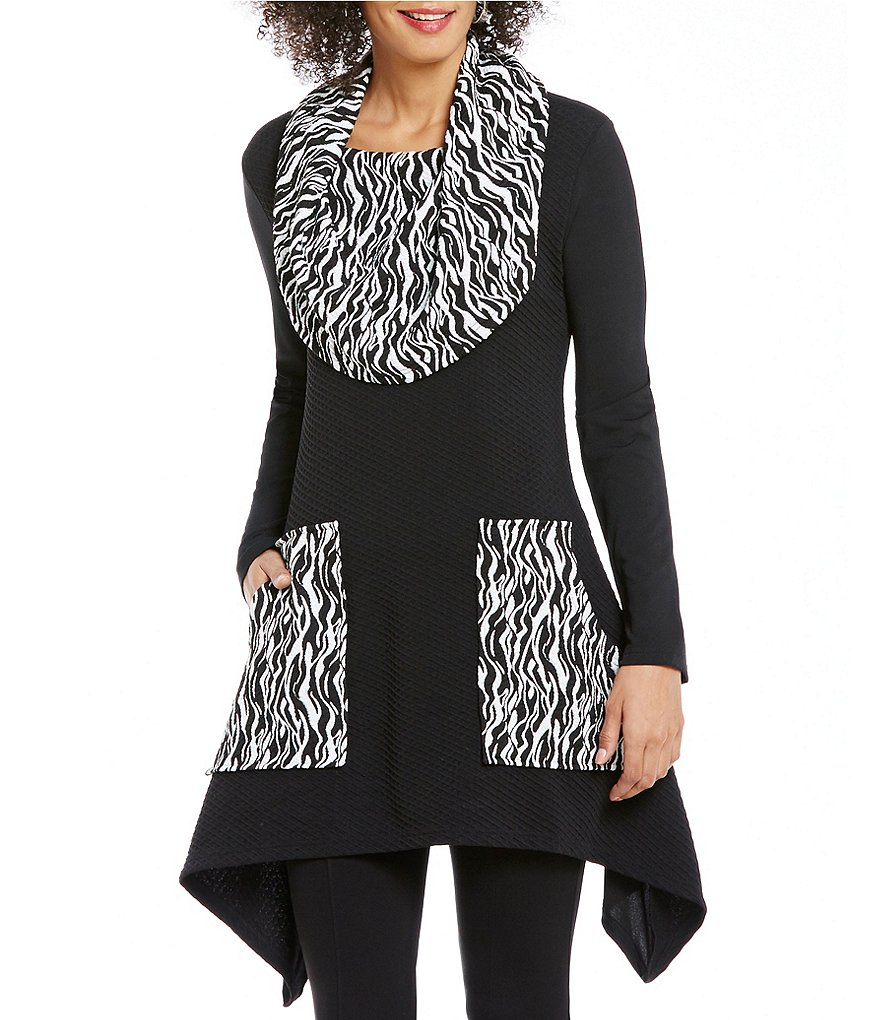 Calessa Animal Print 3/4 Sleeve Cowl Neck Tunic