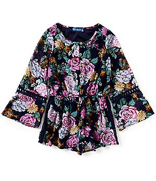Truly Me Big Girls 7-16 Floral Bell-Sleeve Romper