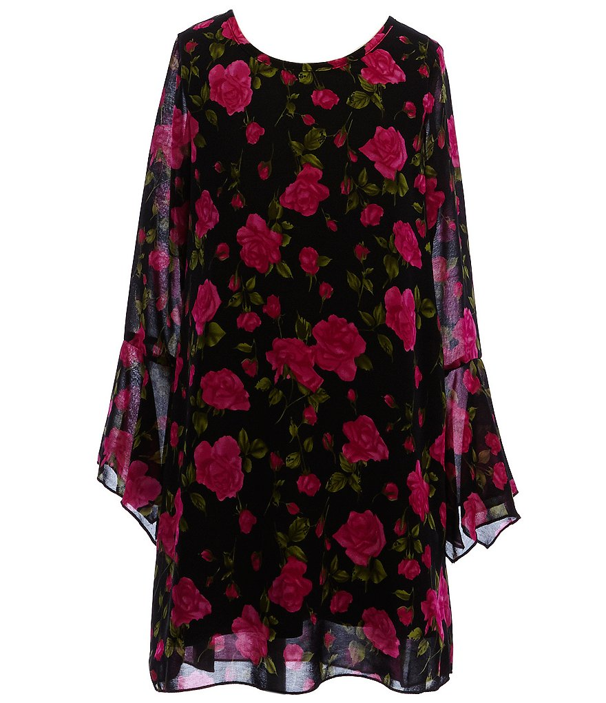 Truly Me Big Girls 7-16 Floral-Print Long-Sleeve Shift Dress