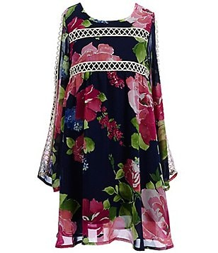 Truly Me Big Girls 7-16 Floral Print Bell-Sleeve A-line Dress