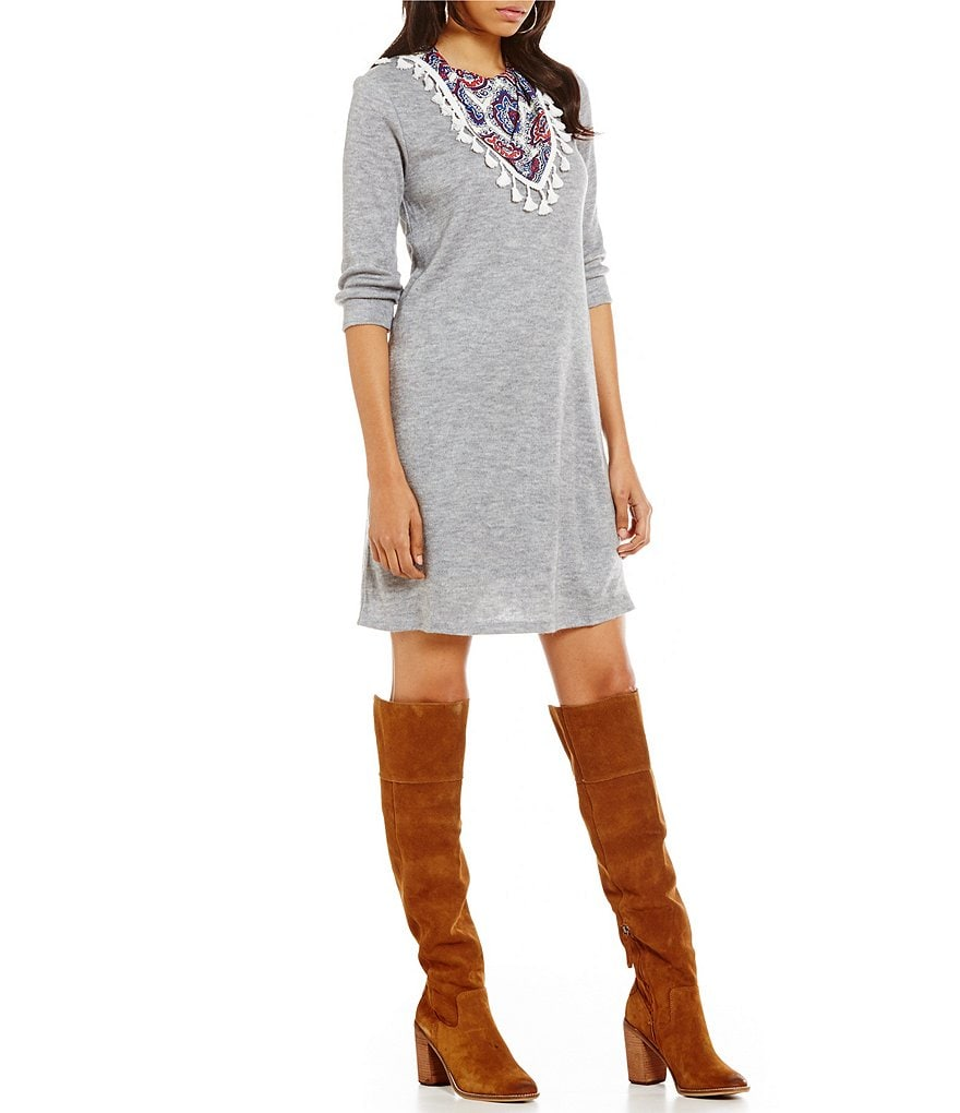 THML 3/4 Sleeve Knit Dress with Scarf