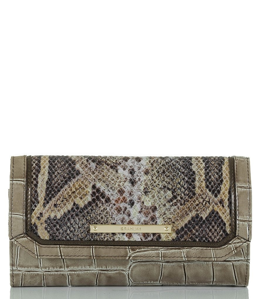 Brahmin Leighton Collection Snake-Embossed Soft Checkbook Wallet