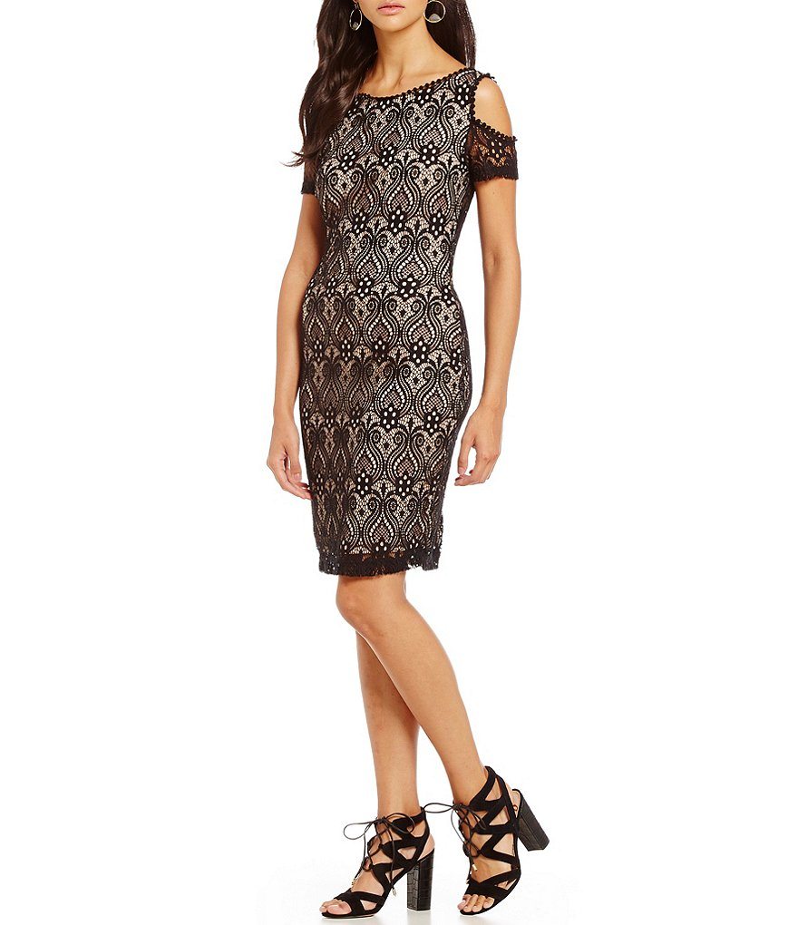Mystic Cold Shoulder Lace Sheath Dress
