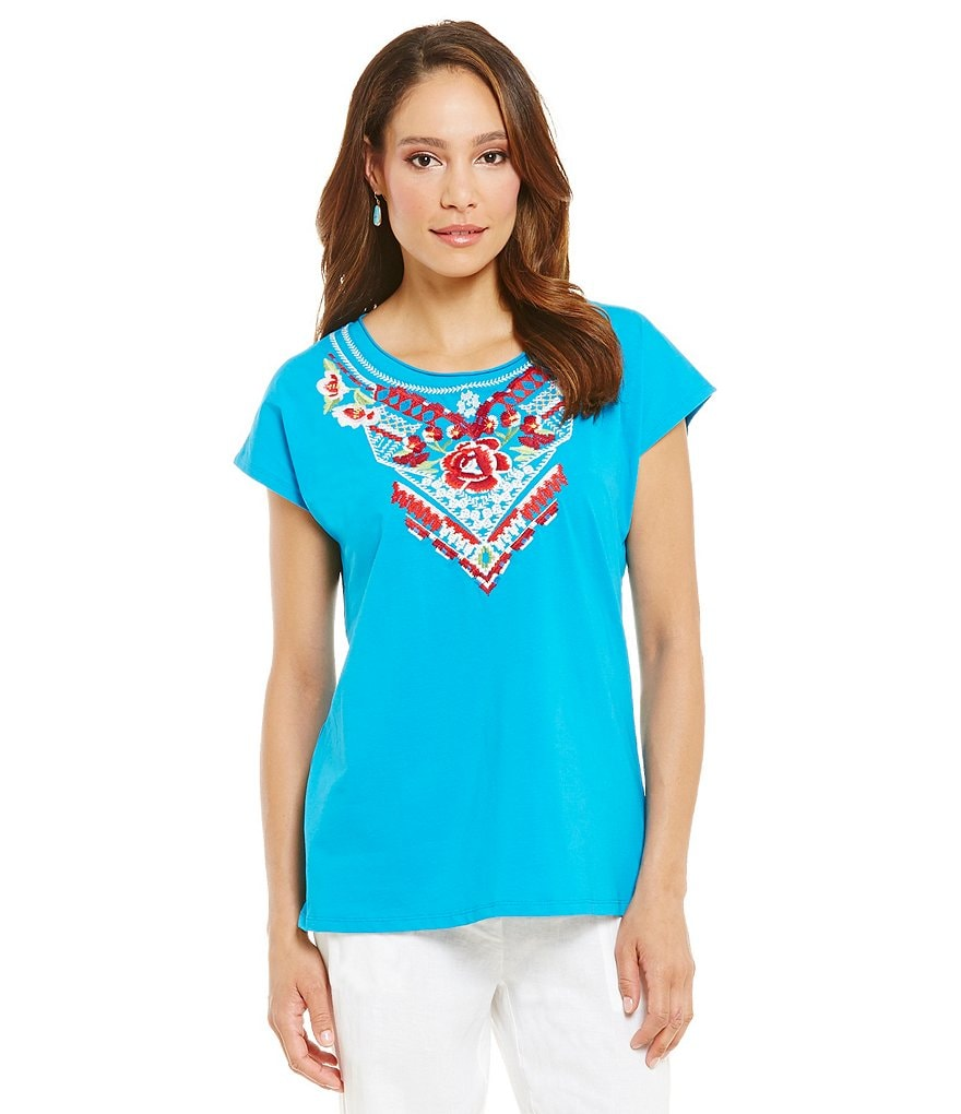 James Bryan Short Sleeve Tribal Embroidered Top