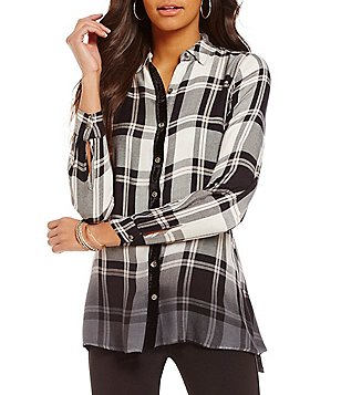 Cupio Ombre Plaid Point Collar Button Front Tunic
