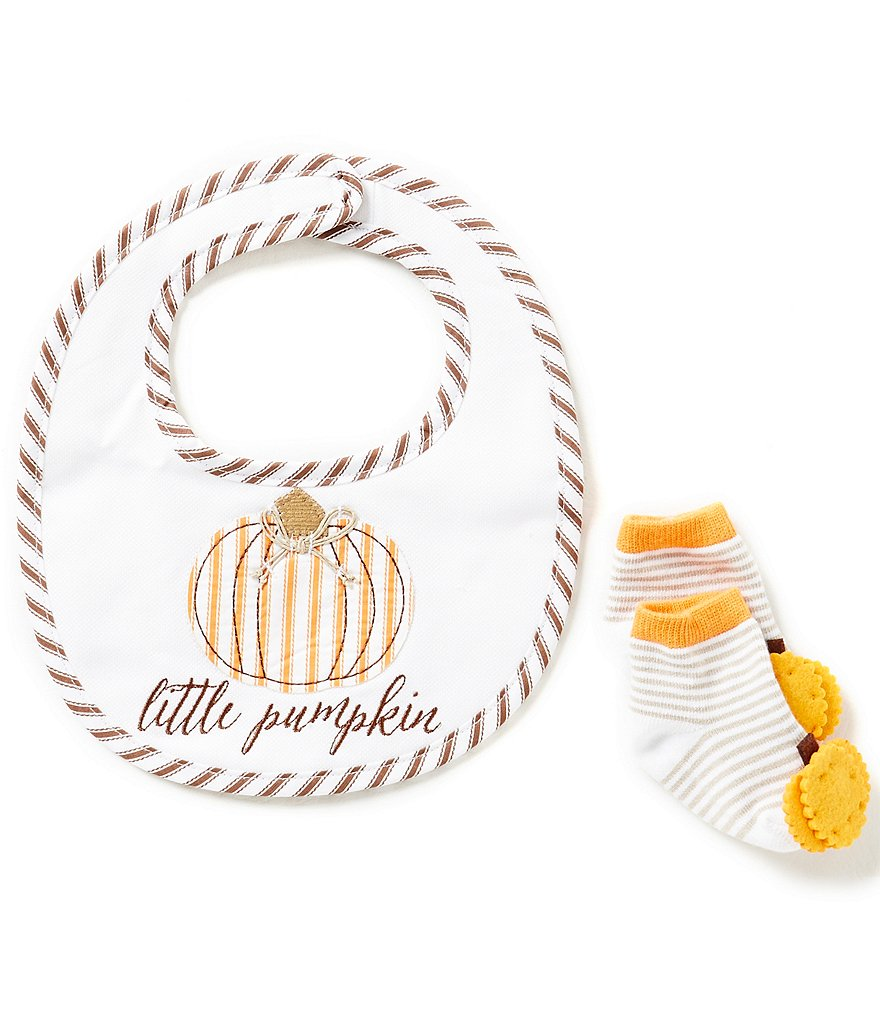 Mud Pie Baby Girls Thanksgiving Little Pumpkin Bib & Socks Set