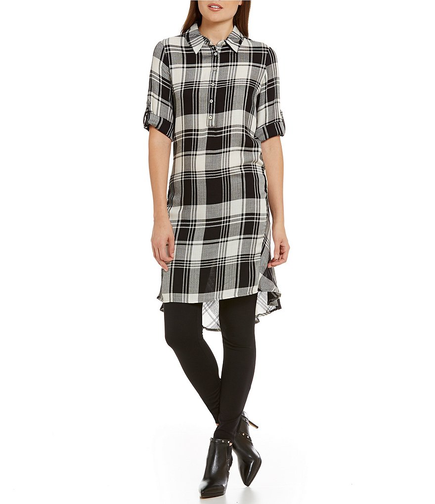 Fever Point Collar Roll-Tab Plaid Shirt Dress