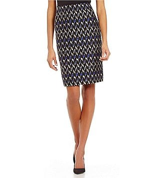Kasper Printed Tweed Straight Fit Pencil Skirt