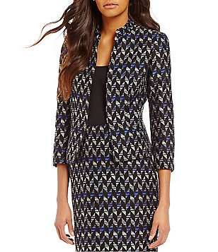 Kasper Chevron Print Tweed Mandarin Collar Long Sleeve Jacket