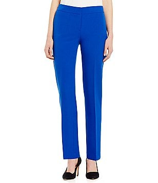 Kasper Stretch Crepe Solid Straight Leg Pant