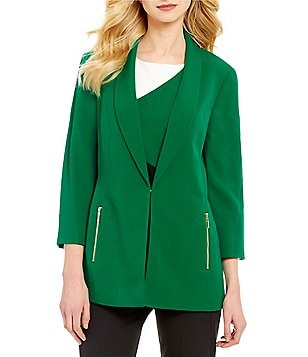 Kasper Stretch Crepe Wide Lapel 3/4 Sleeve Topper