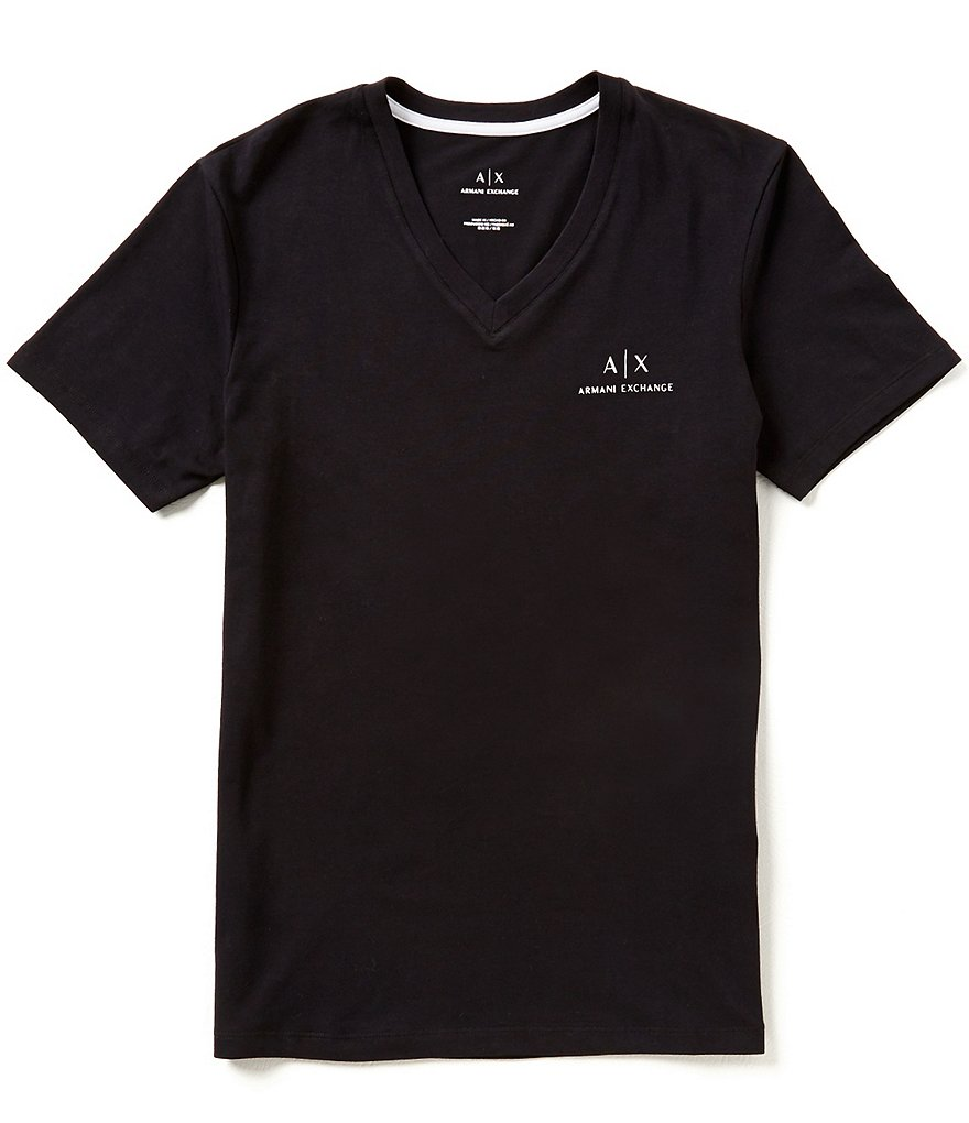 Armani Exchange Soft V-Neck Short-Sleeve Logo Tee