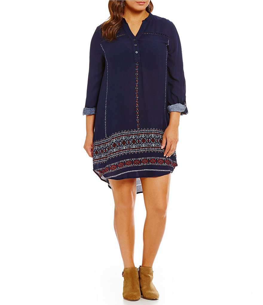Blu Pepper Plus Border Print Long Sleeve V-Neck Dress