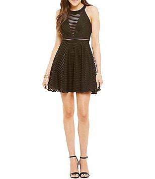 Dear Moon Shadow Stripe Skater Dress